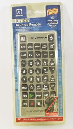 JUMBO UNIVERSAL REMOTE CONTROL BY EMERSON PRODUCTS, CONTROLS UP TO 8 DEVICES #Innovage