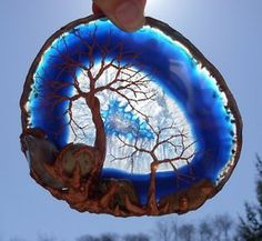 Copper Wire Tree of Life and Polished Minerals on A Blue Agate Suncatcher | eBay