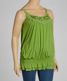 Look at this #zulilyfind! Green Crochet Shirred Blouson Tank - Plus by Simply Irresistible #zulilyfinds