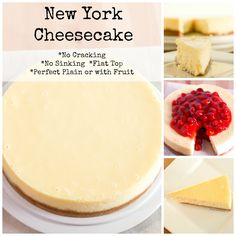 This New York Cheesecake is the best I've ever had! No cracking, no sinking top, no thick brown crust. A perfectly flat cheesecake that is tasty plain or with fruit! Cheesecake Recipe No Sour Cream, Cheesecake Recipe No Water Bath, New York Baked Cheesecake, Plain Cheesecake, Cheesecake Toppings, New York Style Cheesecake, Easy Cheesecake Recipes, No Crust Cheesecake, Heavy Cream Recipes