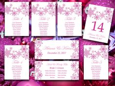 Winter Wedding Seating Chart Template  Snowflake Wedding Winter
