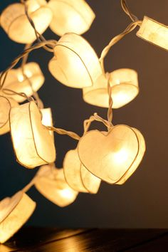 35 Romantic White Heart Paper Lantern String Lights for Party Wedding and Decorations