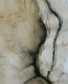 Detail of #skin. #coffee #coffeeart #inspiration #mixedmedia #muse #abstractart #abstractpainting #figurativedrawing #nude_art #charcoalart #fluidart #fluidartgallery #liquidart