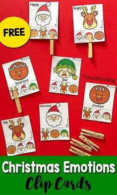 FREE printable Emotions activity with a Christmas theme! Great for toddlers and preschoolers to learn about feelings and build visual discrimination and fine motor skills by clipping the cards with clothespins. Includes Santa, Rudolph, gingerbread man and