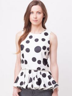 bYSI Polka Dotted Peplum Top purchase from koovs.com Polka Dot Top be4ece416