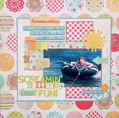 A great layout and some tips on using busy background paper on a layout (all products can be found at www.awdml.com).