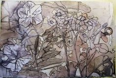 Ink drawing on eco printed paper - Cherie Livni