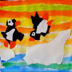 Loove this penguin project!!! Saw this project at another school and thought it was adorable. My kids did a fabulous job! We did the watercolor stripes on one day and added the torn paper penguins the next. So cute!