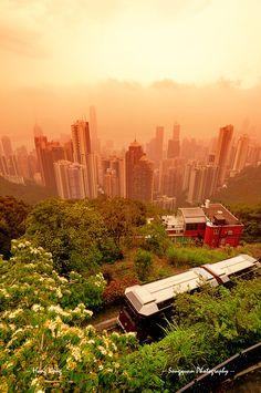 Hong Kong Peak Tram at Sunset