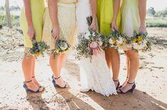 Bridesmaids in yellow | Photography by Jason Vandermeer