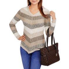 No Boundaries Juniors' Marled Striped V-Neck Sweater, Size: 2XL, Gray