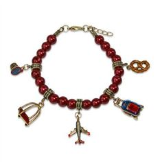 Flight Attendant Charm Bracelet in Gold, Women's, Red