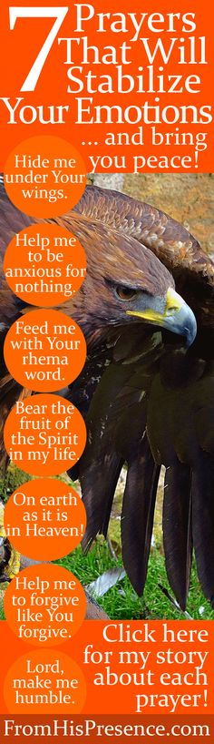 rr 7 short, powerful prayers will stabilize your emotions/ bring you peace/ joy. Encouraging/ based on author's personal stories! Prayer Scriptures, Bible Prayers, Faith Prayer, Bible Verses, Christian Life, Christian Quotes, Christian Women, Christian Living, Guter Rat