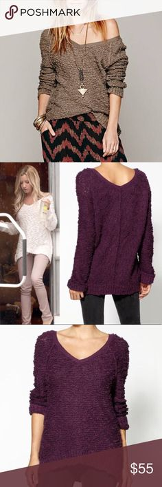 Free People Songbird Sweater *Plum* 🌼 Free People oversized plum Songbird pullover boucle knit sweater.  Features v-neck and high-lo hem.  First photo is same sweater in different color to show styling option.  In excellent condition. Free People Sweaters