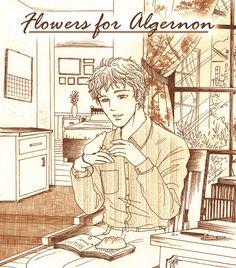 "Remake cover manga style of a good novel by Daniel Keyes. ""Flowers for Algernon"""