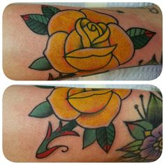 Yellow traditional rose tattoo