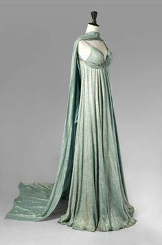 Evening gown, 1930, Callot Soeurs. Gown has a scarf-illusion train attached at the back of the shoulders. JC