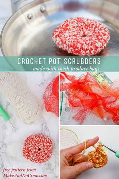 Keep your dishes clean and mesh produce bags out of the landfill at the same time with this simple crochet pot scrubbies pattern! Perfect Earth Day craft idea you can use year round. Get the free pattern and tutorial featuring Lion Brand Yarn's Kitchen Cotton. via @makeanddocrew