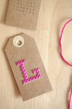 21 Creative Cross Stitch Projects -Flamingo Toes For gift tags on girls gifts Cross Stitching, Cross Stitch Embroidery, Cross Stitch Patterns, Paper Embroidery, Homemade Gifts, Diy Gifts, Embroidered Gifts, Craft Tutorials, Diy Projects