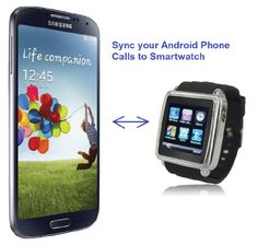 SmartWatch (Classic Case & Black Strap) : Smartwatch (Sync calls to iPhones,Android Phones,Bluetooth Phones).Quad-Band GSM Bluetooth Cell Phone,Music&Video Multimedia Player,FM radio,Camera.   Operating Frequency: GSM 850/900/1800/1900 Smart Bluetooth allows connection to iPhone, Android or Bluetooth phone, providing capability to answer or