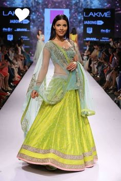 Anushree Reddy Lime Green Lehenga At Lakme Fashion Week Indian Attire, Indian Ethnic Wear, Indian Style, Patiala Salwar, Anarkali, Lehenga Choli, Sarees, Pakistani Outfits, Indian Outfits