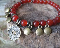 Carnelian Asian Bracelet   Carnelian Coin Bracelet, Beaded Stacking Bracelet // Pyrite, Fools ...