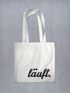 Wenn es läuft, dann läufts, Jutebeutel mit Typo / printed bag, funny by lazy day fashion via DaWanda.com