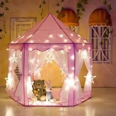 Portable kids Princess Castle Play Tent Activity Fairy House Fun Playhouse toy, Outdoor Large Playhouse With 23 Feet Led Star Lights,Perfect Outdoor Child Toys | Stylish Vylish