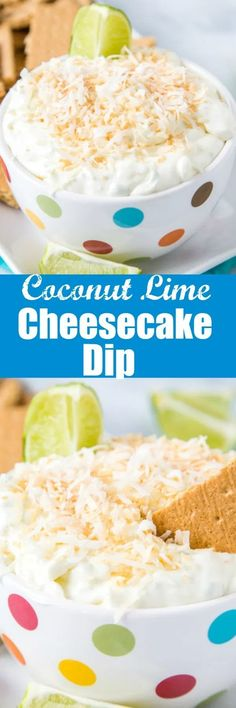 Coconut Lime Cheesecake Dip - a super easy no bake treat that is light, creamy, and absolutely delicious! Sweet and tart with lots of toasted coconut. Great with graham crackers or even fruit! Coconut Recipes, Tart Recipes, Baking Recipes, Dip Recipes, Kitchen Recipes, Summer Recipes, Sweet Recipes, Vegan Recipes, Easy Gluten Free Desserts
