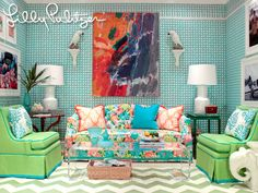 Spring 2011, Lilly Pulitzer fabric line for Lee Jofa.  Lee Jofa showroom.
