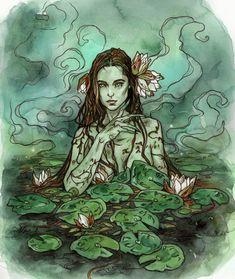 Lily pond by LiigaKlavina on DeviantArt Character Art, Character Design, Lily Pond, Monster, Fantasy Characters, Dark Art, Art Inspo, Illustrators, Fantasy Art