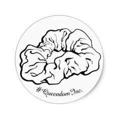 Shop White Scrunchie Sticker created by Queens_Gallery. White Shop, Round Stickers, Free Paper, Custom Stickers, Scrunchies, Natural Hair Styles, Gallery, Queens, Round Labels