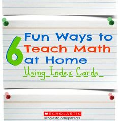6 simple math learning games to play with index cards.