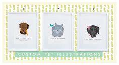 Custom Pet illustrations byTwo Brunettes. So cute!