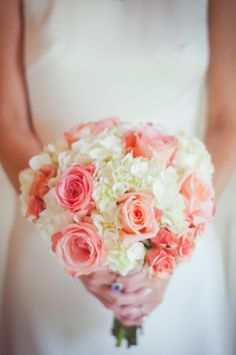 #Bouquet | Coral + Cream | See the wedding on SMP: http://www.StyleMePretty.com/florida-weddings/greenville-florida/2014/01/30/greenville-wedding-at-honey-lake-plantation-resort-and-spa/ Caroline Maxcy Photography