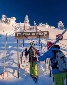 Skiing to heaven!    Sike! Just a sing