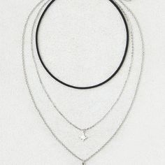 AE Triple Layer Necklace ($16) ❤ liked on Polyvore featuring jewelry, necklaces, metallic, artificial jewellery, triple necklace, double layer necklace, steel necklace and layered jewelry