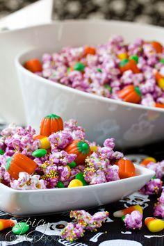 Festive Halloween Party Popcorn | ASpicyPerspective.com #Halloween #Recipes #Popcorn