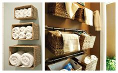 "Baskets attached to a towel rack. From IHeart Organizing. Do this as an ""on-the-wall"" storage in kitchen for onions, garlic, potatoes, limes, lemons..."