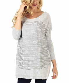 Look what I found on #zulily! Gray Sequin Maternity Dolman Sweater #zulilyfinds