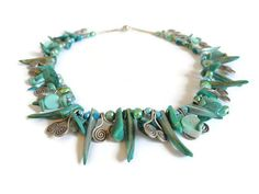 Beadwork Necklace Beaded Jewelry green silver by FlorenceJewelshop, €107.00