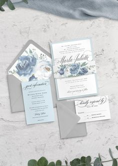Beautiful new shades of blue floral wedding invitation suite. ======================================================  This listing is for a finished, printed invitation set. - INCLUDED in this Suite -  • Invitation: Ice White • RSVP Card: Ice White • Details Card: Light Amethyst • Belly Band: Ice Blue Wedding Invitations, Floral Wedding Invitations, Wedding Stationary, Blue Grey Weddings, Blue Wedding Flowers, Wedding Reception Seating, Garden Wedding Inspiration, Invitation Set, Light Amethyst