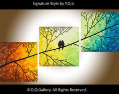Rainbow color art 48 Acrylic landscape painting by QiQiGallery