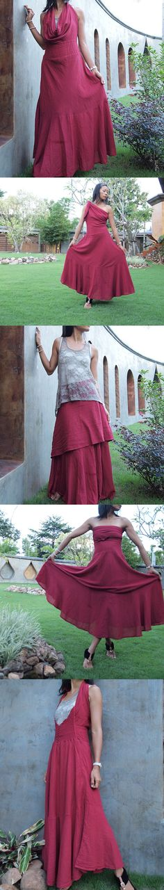 If I could maxi dress...Deep red mix silk...1 dress от cocoricooo