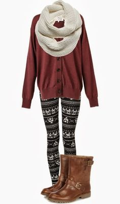 Fall Outfit With Leggings and Cardigan
