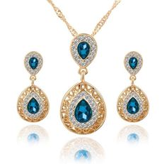 """Women's Crystal Jewelry Set - """"Water Drop"""" Pendant Necklace, Earrings, Shinny CZ Turquois & Gold. Great for Bridal/Wedding/Special Occassions...Affordably Price!!    **Free Shipping on this Item** 