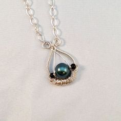 Black Shell Pearl and Glass Wire Wrapped Silver Necklace