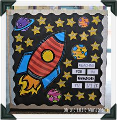 Summer Bulletin Boards For Daycare Discover Oh the Little Wonders: Whats New? Space Theme Classroom, Stars Classroom, Superhero Classroom, Classroom Design, Diy Classroom Decorations, School Decorations, School Themes, Classroom Displays, Space Bulletin Boards