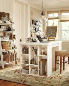 studio, office designs, home office design, scrapbooking rooms, scrapbook rooms, pottery barn, open shelving, home offices, craft rooms