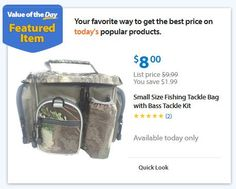 Fishing tackle bag with 52 pc bass tackle kit just $8.00!